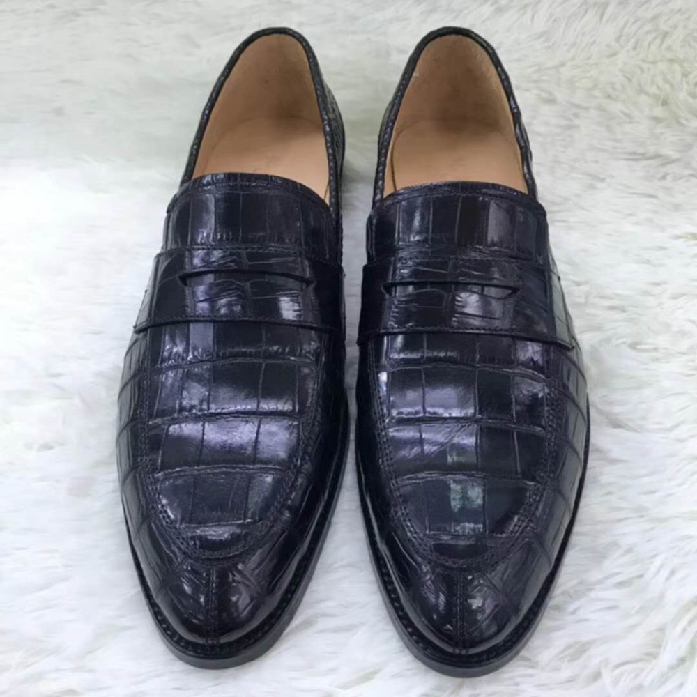 Shoes 100% Genuine Real Crocodile Belly Skin Men Shoe Durable Solid Brownc Color Glossy Crocodile Belly Skin Men Business Dress Shoe