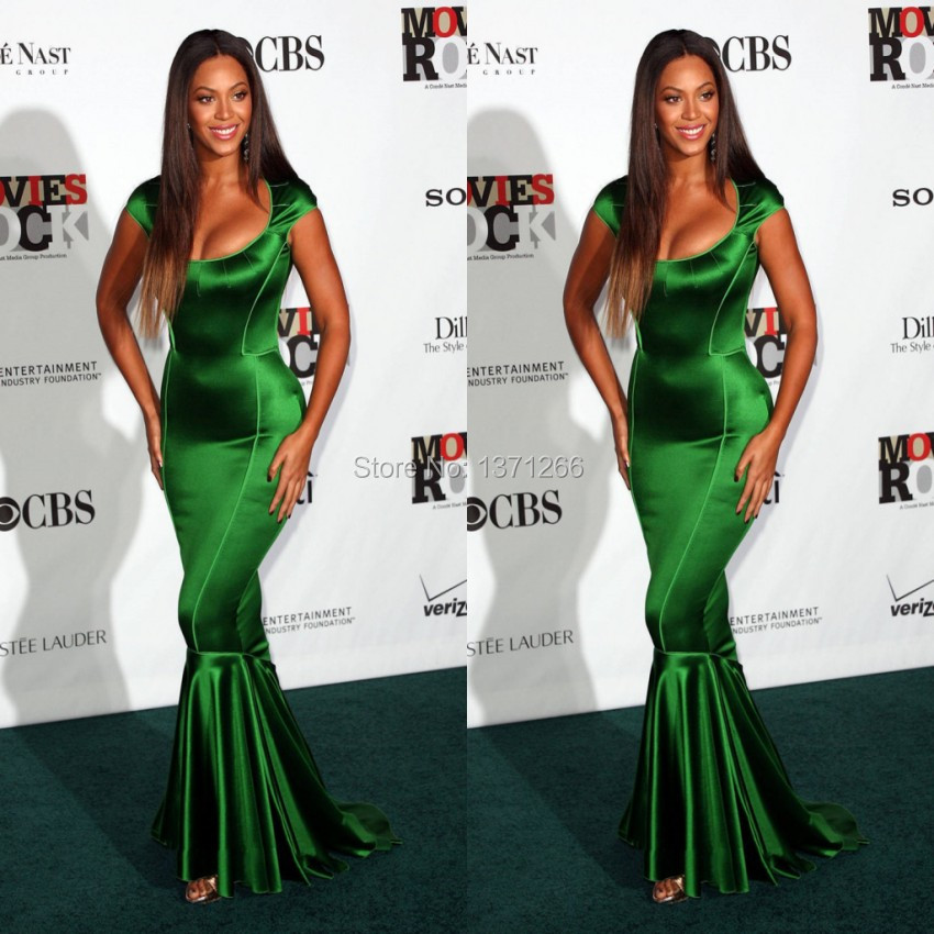 Beyonce Red Carpet Celebrity Dresses 2016 Sexy Cap Sleeve Mermaid Green Prom Party Evening Gown Vestido de festa