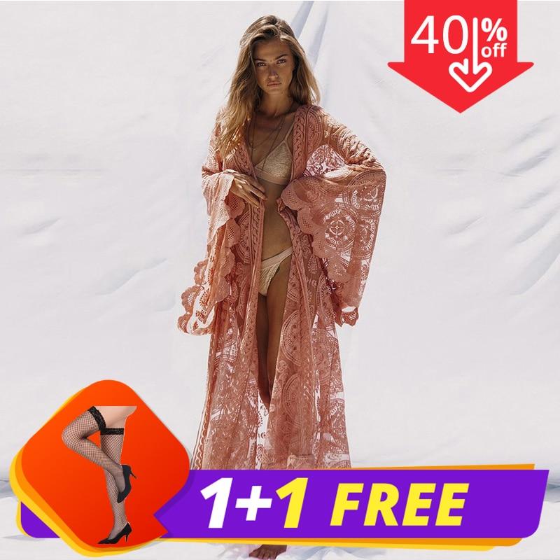 Kimono d'été de grande taille femmes Sexy longue paillettes Patchwork dentelle Cardigan en mousseline de soie Blouse femme vêtements Roupas de haute qualité