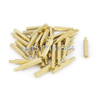 30 Pcs <font><b>M3</b></font> Male Female Brass Hex Stand-Off PCB Spacer Pillar <font><b>22mm</b></font> image