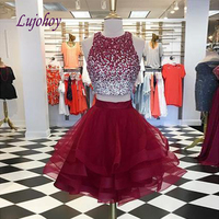 Red Luxury Short Homecoming Dresses for Girls Crystal Two 2 Piece Tulle Women Cocktail Prom Grade 8 Graduation Dresses