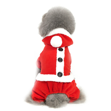 Pet Dog Teddy Christmas New Year festive red girls dress mens cotton warm plush coat autumn and winter party pet clothing
