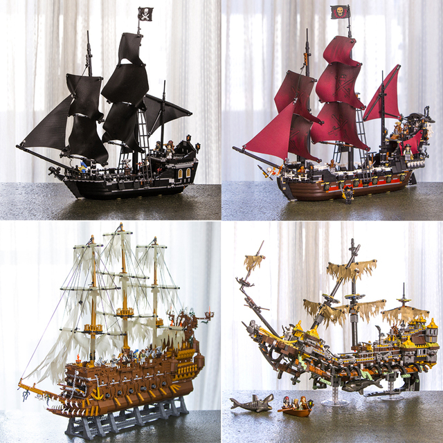 In Stock 16002 16006 16009 16016 16042 22001 Movie Series Pirates Of Caribbean Ships Models Toys Building Blocks Bricks 70618
