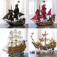 In Stock 16002 16006 16009 16016 16042 22001 Movie Series Pirates Of Caribbean Ships Models Toys Building Blocks Bricks 70618