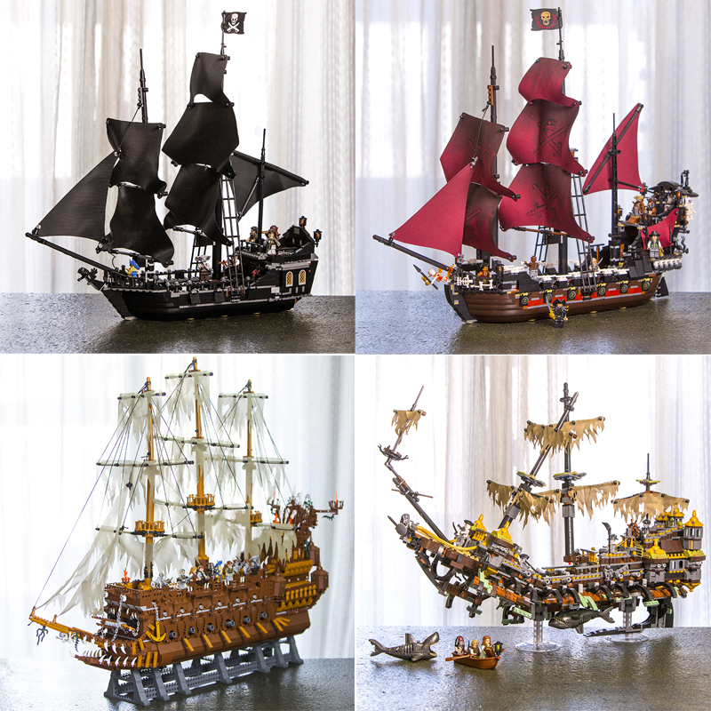 Lepin 16002 16006 16009 16016 16042 16051 22001 06057 Movie Series Pirates Of Caribbean Ship Toys Building Blocks Bricks 70618 lepin 16016 3652pcs movie series flying the dutch blocks bricks toys for children compatible legoing pirates caribbean