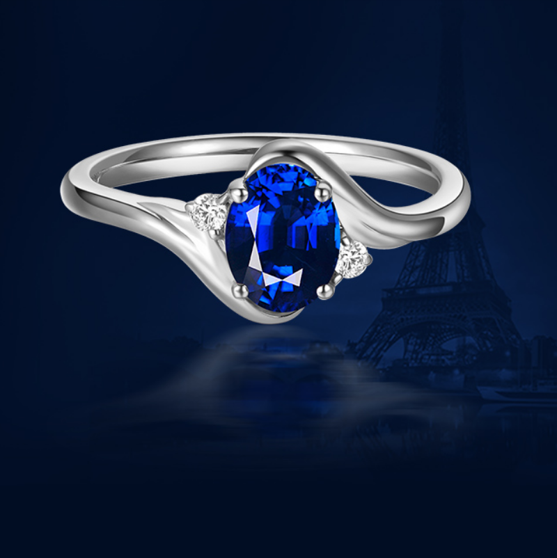 1 carat 925 silver ring jewelry tanzanite man made diamond ring design US size from 4.5 to 9(LA)