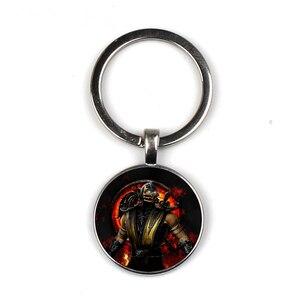 Arrival mortal Kombat Keychain Handmade Glass Dome Dice Sub Parts Steampunk Fashion Bag Car Key Chain(China)