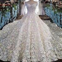 Luxury Crystal Beaded Ivory Wedding Dresses Long Sleeve Lace Fluffy Princess Wedding Gown Vestidos De Noiva Bridal Dress BW05