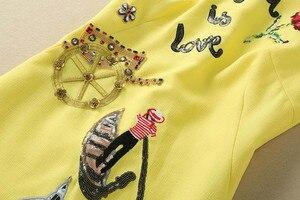Image 3 - Femmes tenue décontractée de haute qualité piste été col rond sans manches perles paillettes dos bouton a ligne Mini robe SAD476N