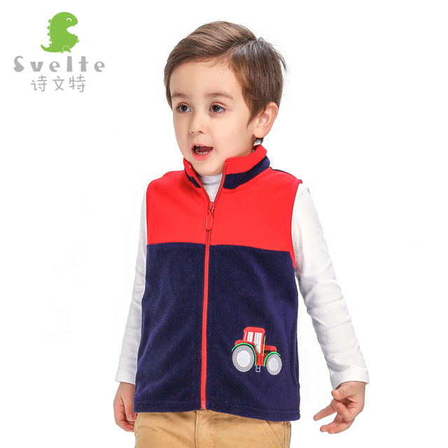 Winter Children's Cartoon Embroidery Children Waistcoat Child Zipper Cardigan Fleece Jacket