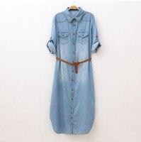 Japanese Style Mori Girls Long Denim Maxi Dress With Rivets Hippie Bohemian Vintage Jean Dresses Gown