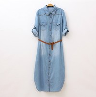 Japanese Style Mori Girls Long Denim Maxi Dress With Rivets Hippie Bohemian Vintage Jean Dresses Gown