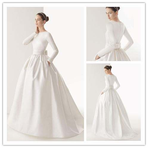 Floor length simple elegant long sleeve wedding dresses for Elegant long sleeve wedding dresses