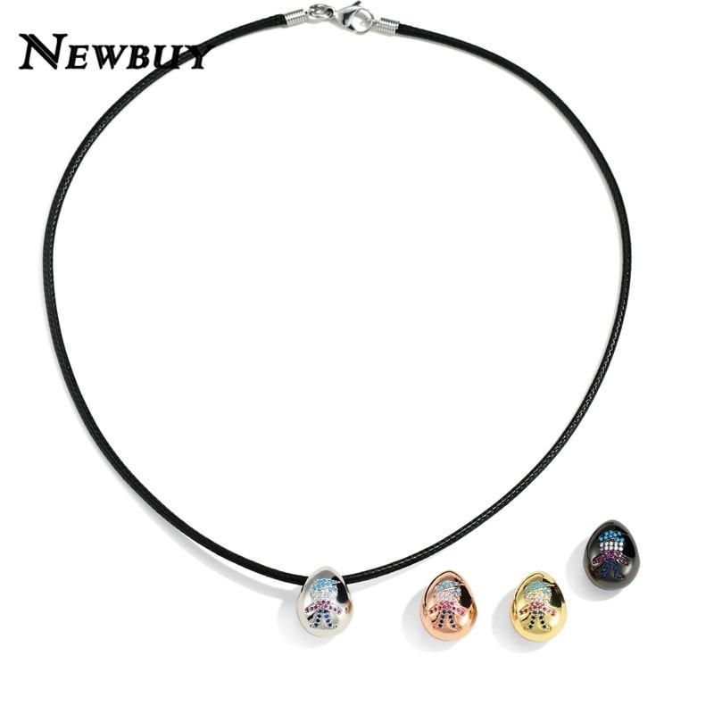 FleißIg Newbuy Einzigartige Design Hohl Ei Anhänger Halskette Bunte Cz Pflastern Einstellung Junge Anhänger Halskette 50/60/70/ 80/90 Cm Kette Geschenk
