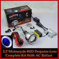 Universal Motorcycle Headlight HID Bixenon Angel Halo Devil Demon Eyes Projector Lens Headlamp Full Kit 4300K 6000K 8000K
