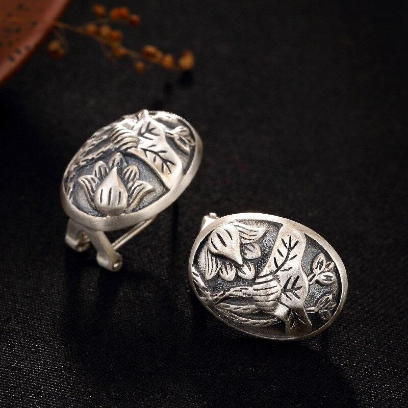 S925 Pure anémone feuille de Lotus couleur mate rétro Simple haute qualité pur argent clous d'oreille en gros