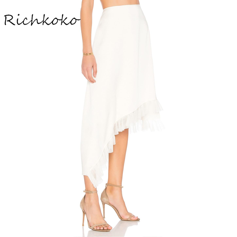 Richkoko 2017 apparel branca sweet assim trico ruffle saia babado babado casuais solta de fundo feminino preppy