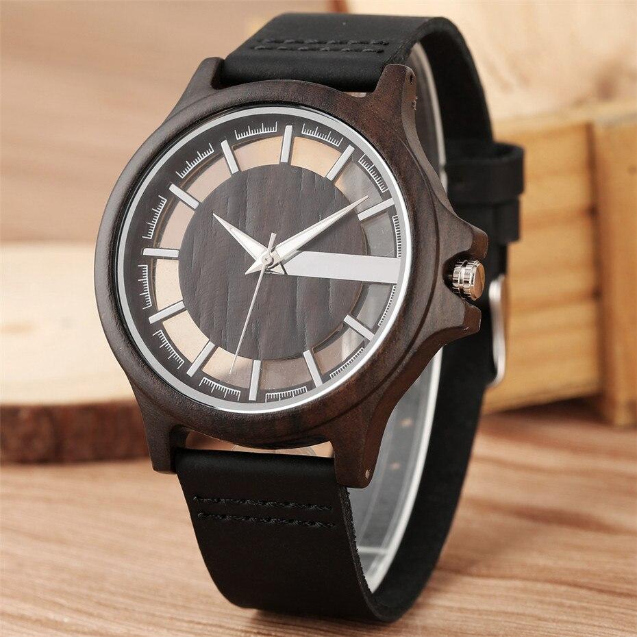 Image 3 - Transparent Hollow Dial Coffee/Brown/Black Wood Watches Quartz Timepiece Genuine Leather Watchband Creative Mens Watch New 2019Quartz Watches   -
