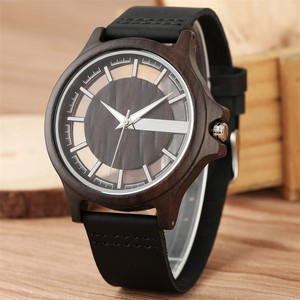 Image 3 - Transparent Hollow Dial Coffee/Brown/Black Wood Watches Quartz Timepiece Genuine Leather Watchband Creative Mens Watch New 2019