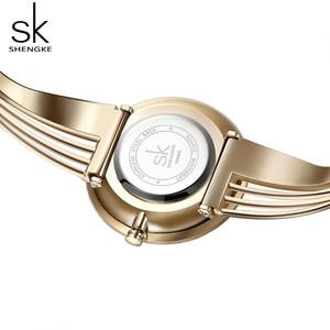 Image 2 - Shengke, relojes de pulsera lujosos de oro rosa para mujer, reloj de cuarzo creativo para mujer, reloj de pulsera para mujer 2019 SK # K0062