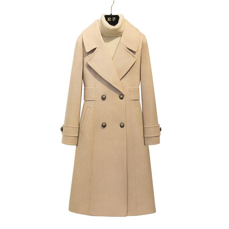 Et Solides Dames Manteaux Réguliers Double Mince Longue 2018 Coréenne Manteau Boutonnage Pardessus Laine Femme D'hiver Kaki Hiver Femmes pwxdBqCx