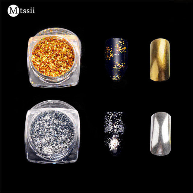 Mtssii 1 Box Gold/Silver Glitter Aluminum Flakes Magic Mirror Effect Powders Sequins Nail Gel Polish Chrome Pigment Decorations