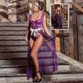 Malha Ver Através de Rendas Vestir Vestido Longo Lingerie Vestido Pijamas Robe Camisola Set Mulheres Sexy Pijamas Babydoll G-corda S60357