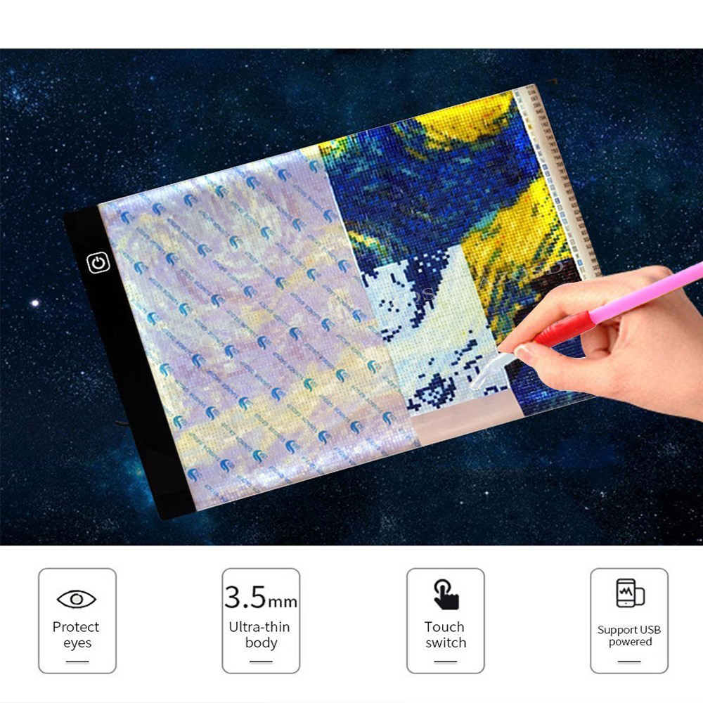 Diamond Painting Accessories Digital Tablet A4 LED Artist Thin Art Stencil Drawing Board Light Box Tracing Table Pad