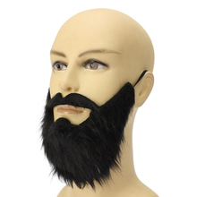 1 Pc Fake Long Fluff Black Beard False Moustache Elasticated Mustache Halloween Party Prom Props Costume Carnivals Christmas