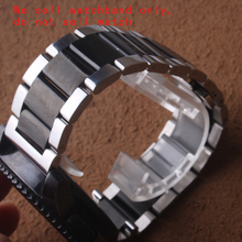 POLISHED Stainless steel Watchband strap bracelt black and silver 18mm 20mm 21mm 22mm 23mm 24mm Fit smart watches Samsung Gear