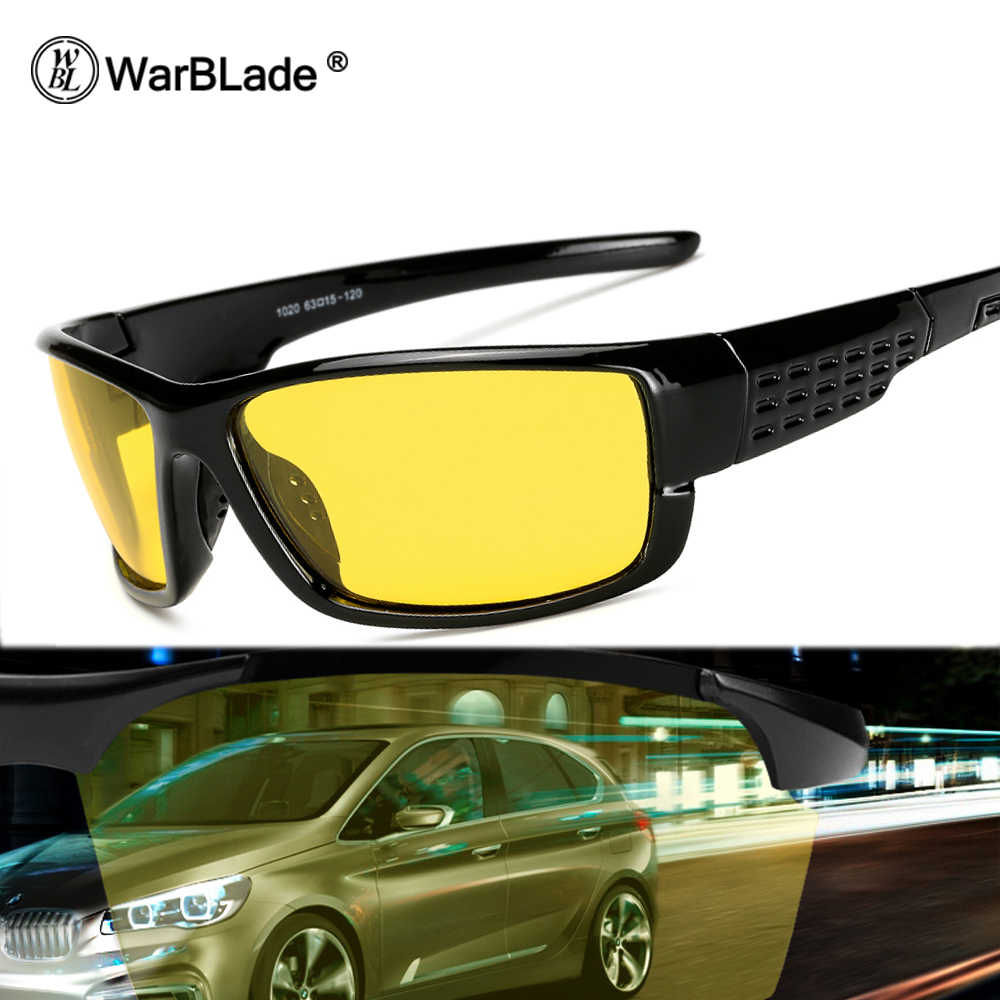 be2a9b97238 WarBLade Men s Polarized Sunglasses Night Vision Yellow Lens Mirror Coating  Sun Glasses Male Night Driving Safe