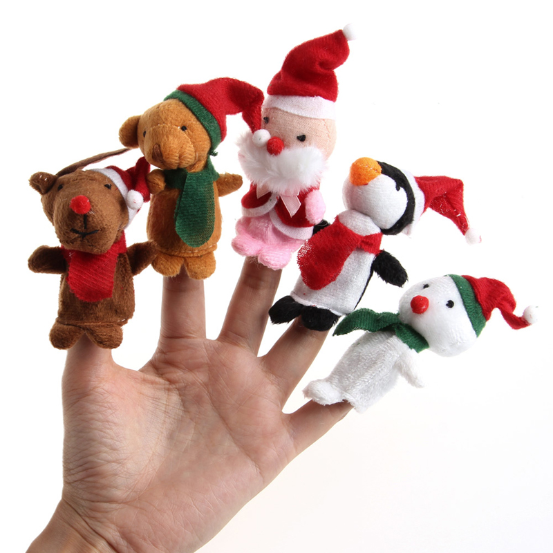 5Pcs Cute Finger Puppets Kids Educational Hand Toy Story Christmas ...