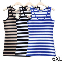 Women Plus Size Loose Knitted Cotton Tank Tops Women Stripe Knitted Tops 6XL