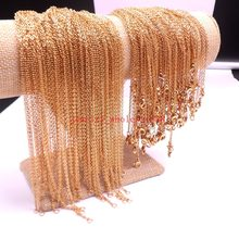 Fit Pendant 10pcs in bulk Stainless Steel Gold Thin Link Chain Women Necklace 2.0mm 18.6''(China)