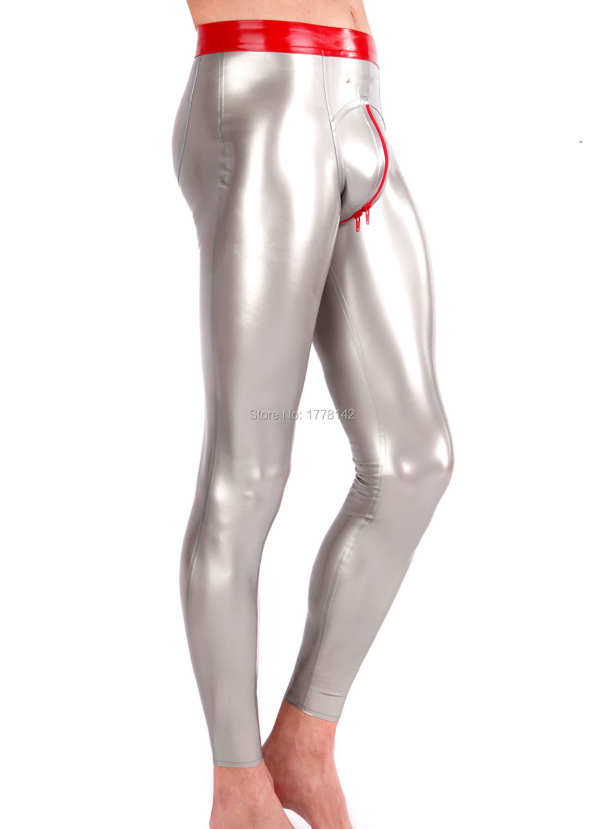 Latex Trousers 3D hips Crotch Zip Men With Trims Customized