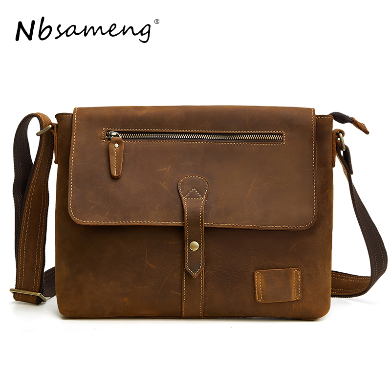 NBSAMENG Genuine Leather Men Shoulder Bags Messenger Bags Male Small Flap Vintage Leather Crossbody Bags for Men Handbags