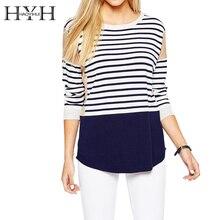 HYH HAOYIHUI 2016 Brand New Autumn Fashion Women Boyfriend Style Crew Neck Striped Print Loose Knitting Streetwear Sweater