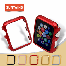 цена на Suntaiho for apple watch 4 protector shell PC Plating Frame for apple watch series 1 2 3 screen protector 40 44 Cover watch Case