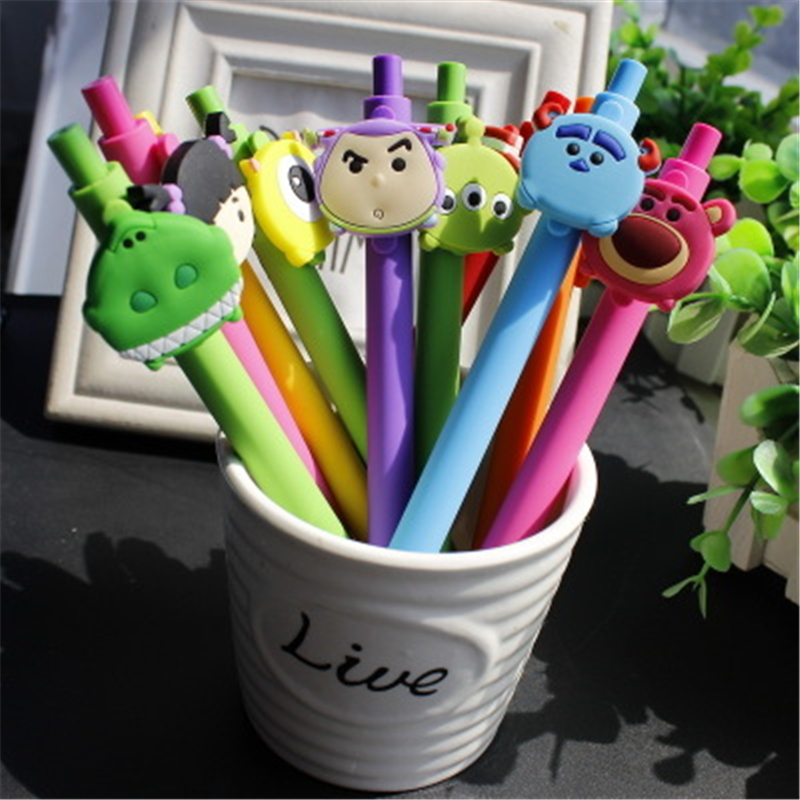 10 PCS Kawaii Pen TSUM Gel Pen For School Cute Cartoon Gel Pen 0.5mm Black Ink PVC Toy Story Stationery Wholesale Gift For Kid