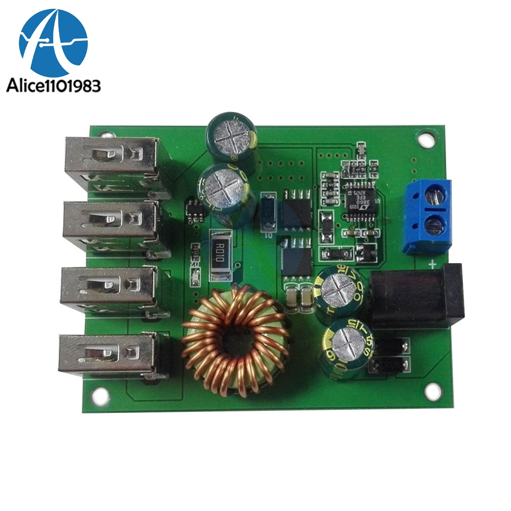 4 Four USB  DC DC 7-60V to 5V 5A Output Buck Converter Board Step Down Power Supply Board Module With Case4 Four USB  DC DC 7-60V to 5V 5A Output Buck Converter Board Step Down Power Supply Board Module With Case