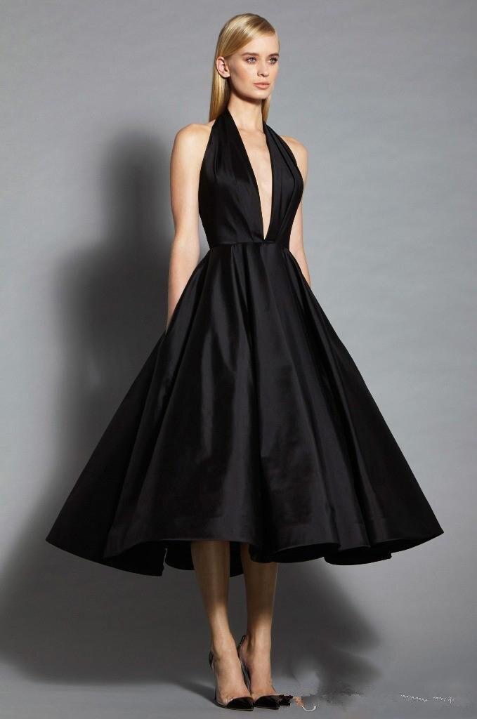 Elegante Robe de Soirée Vestidos de Noche Negro 2017 Sexy Profundo V Cuello de R