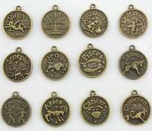 100 шт смешанные античные бронзовые подвески в виде зодиака
