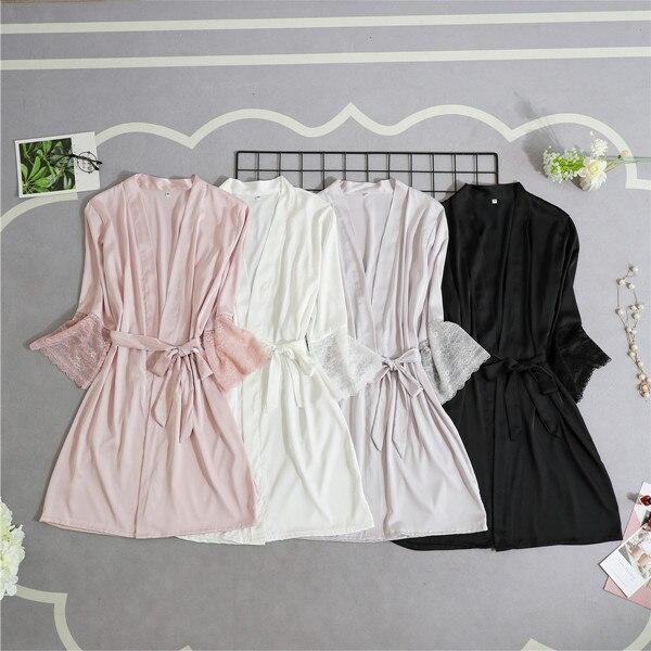 Mulheres de Cetim de Seda Kimono Robe Sexy Guarnição Do Laço Curto Noite Robe Sólida Roupão Peignoir Robe Moda Vestir Vestido De Dama de Honra Da Noiva