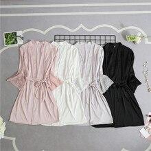 Women Silk Satin Short Night Robe Solid Kimono Robe Sexy Lac