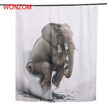 WONZOM 3D Polyester Fabric Elephant Lion Tiger Shower Curtains with 12 Hooks For Bathroom Decor Modern Bath Waterproof Curtain