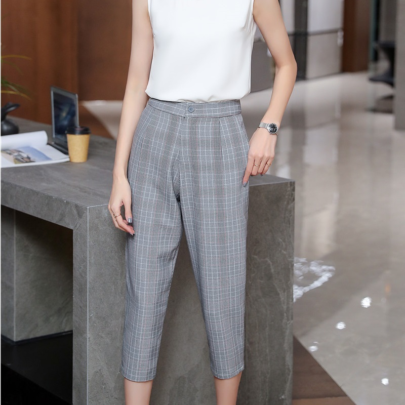 2019 Spring and Summer Wear Casual Women Trousers OL Styles Leisure   Pants     Capris   Cropped Trousers Fashion Plaid
