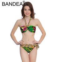 2017 New Beachwear Mid Waist Bathing Suit Wire Free Swimwear Print Swimsuit Sexy Bikinis Bikini Set