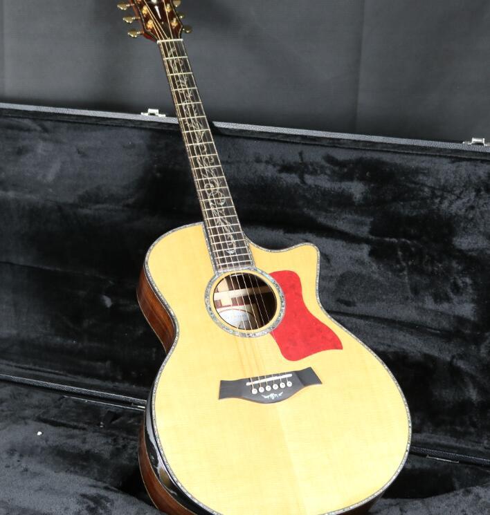 40 ''Cutway PS-14 guitare acoustique ébène touche Grover Tuner haut rigide Abalone incrustation