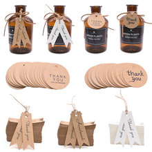 100Pcs Kraft Paper Thank You Hang Tag Handmade Gift Label For Wedding Birthday Party Baby Shower Tagging Package Decor