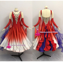 купить Women Standard Ballroom Dancing Dress Adult 2019 New design Red Gradient Color Waltz Tango Ballroom Competition Dance Dresses по цене 17957.32 рублей
